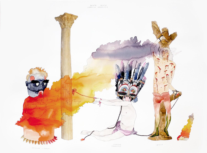 <b>Clément Bataille</b>, <em>Sainte Trinité</em>, Encre et aquarelle sur papier Arches, 2019 /60x60cm