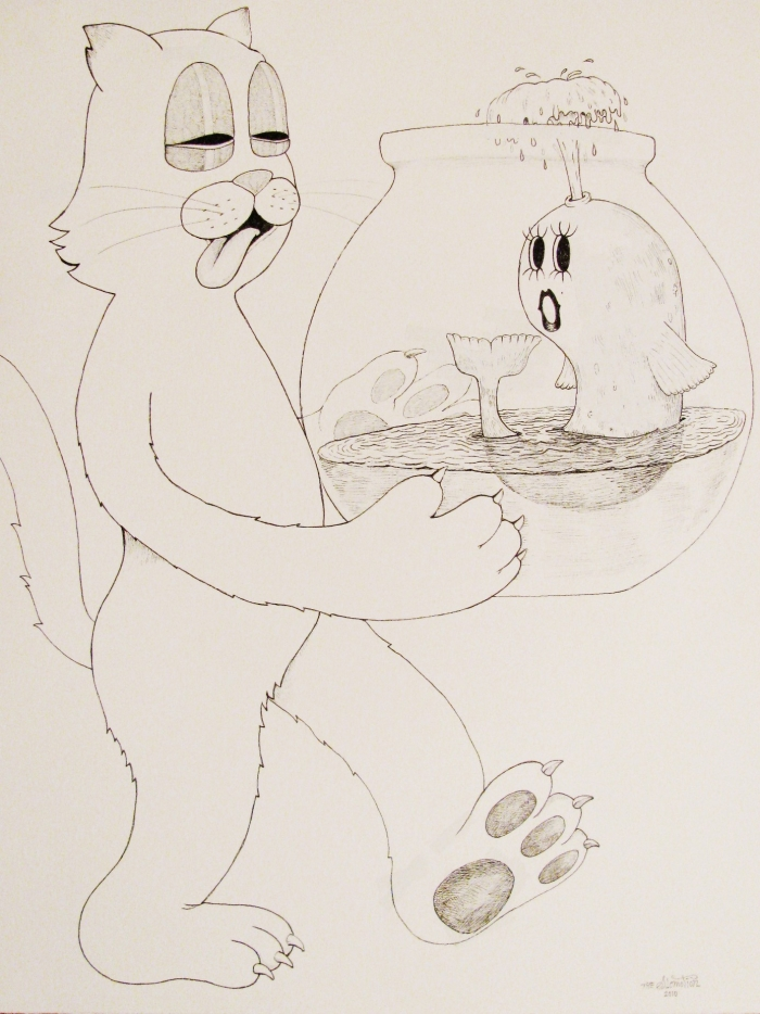 Fishbowl, 2010, Encre et stylo sur papier, 30 x 25 cm