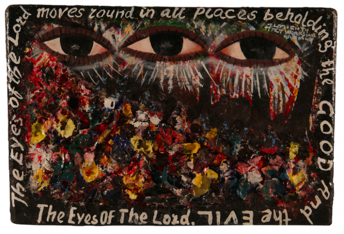 Kwame Akoto Almighty God, The eyes of the Lord, acrylique sur bois, 22 x 30 cm