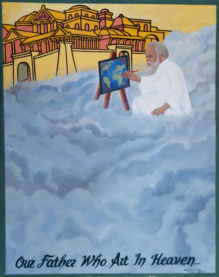 Kwame Akoto Almighty God, Our father who art in heaven, acrylique sur toile, 148 x 120 cm