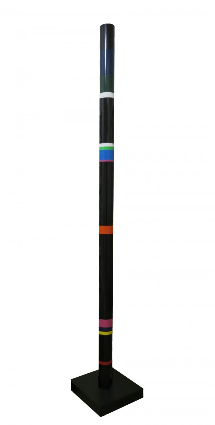 Cylindre polychrome ou colonne, pvc, hauteur 2,36 m, 1976, Rougemont