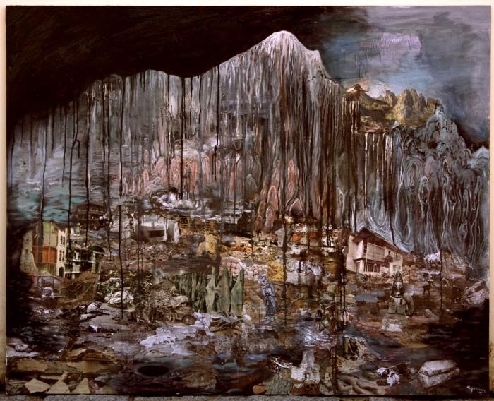"""""""Apocalypse Clown"""", huile et collage sur toile, 150 x 160 cm, 2010"""