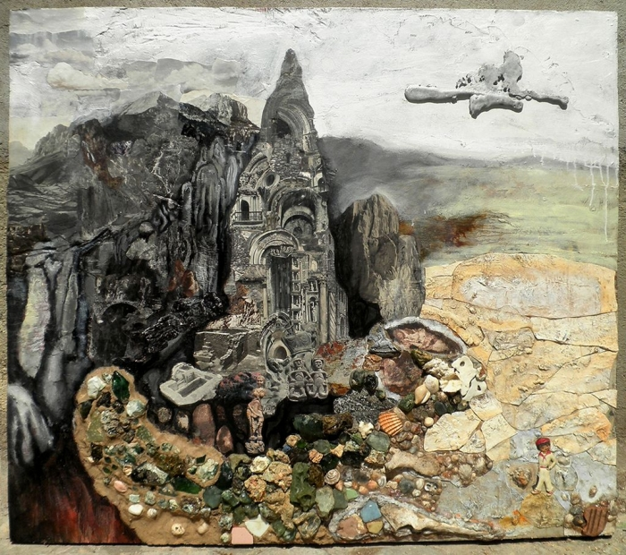 """""""Aripek"""", huile et collage sur toile, 150 x 160 cm, 2010"""