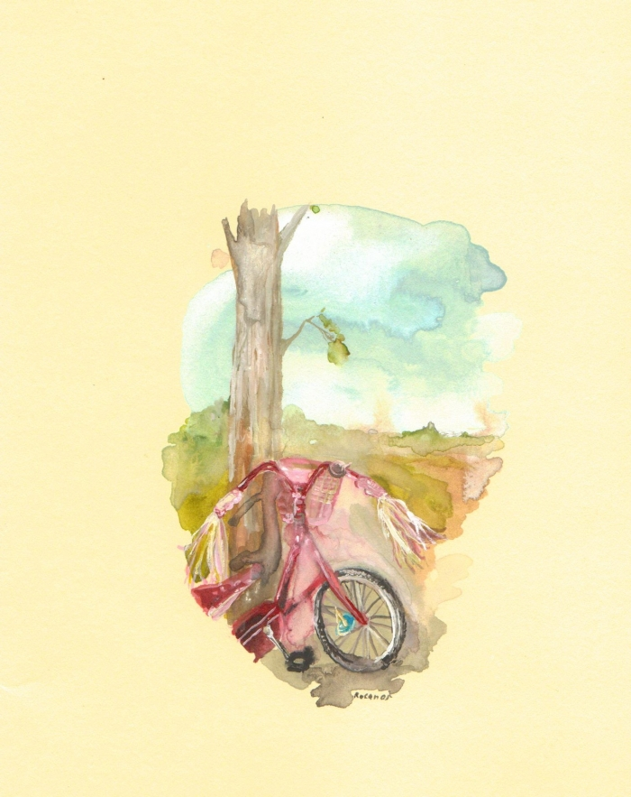 Bike, watercolour on paper,14 x 19 cm