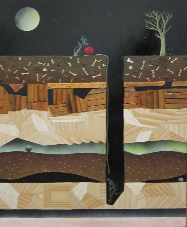 Untitled, 2011, technique mixte, collage sur bois, 96 x 22 cm, Adrian Williams