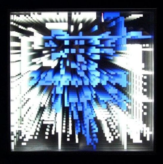 pixels infinis bleu, 2009, Drop Fine Art, 65x65x10 cm