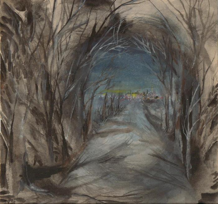 City Lights, watercolour on paper, 22.5 x 22.5 cm