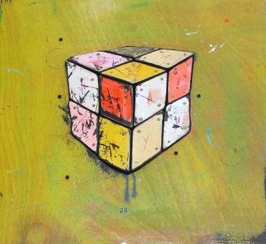 Cube Multicolore - Technique mixte sur Bois - 50 x 50 cm - 2010