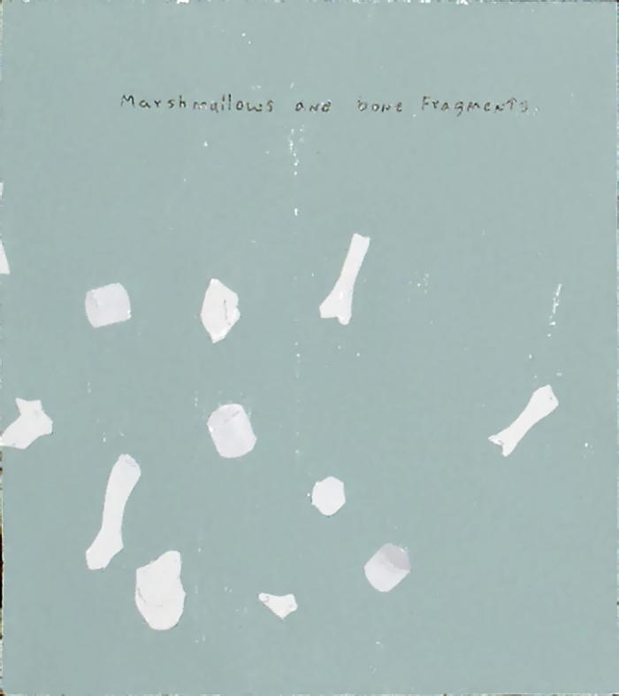 Marshmallows and bone fragments, 2011, Technique mixte sur panneau, 10 x 11,5 cm
