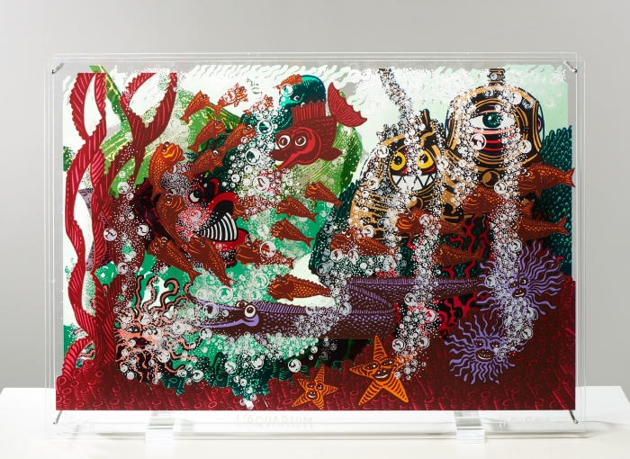 L'Aquarium, 2015 - Triptyque (sérigraphie originale, 50 ex), impression sur trois plexiglas transparents de 5 mm d'épaisseur - 80 x 60 x 15 cm