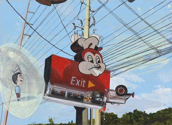 Exit-to, technique mixte sur toile, 73 x 100 cm, 2011