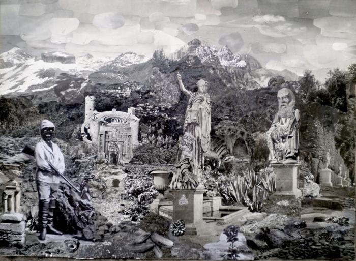 The Black Explorer, Collage sur bois, 50 x 70 cm, 2013