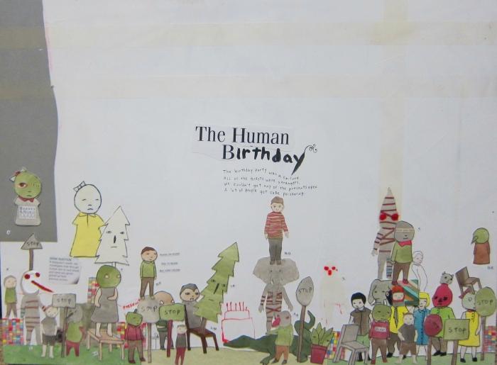 The Human Birthday, 2013, Technique mixte sur bois, 46 x 61 cm, Neil Farber
