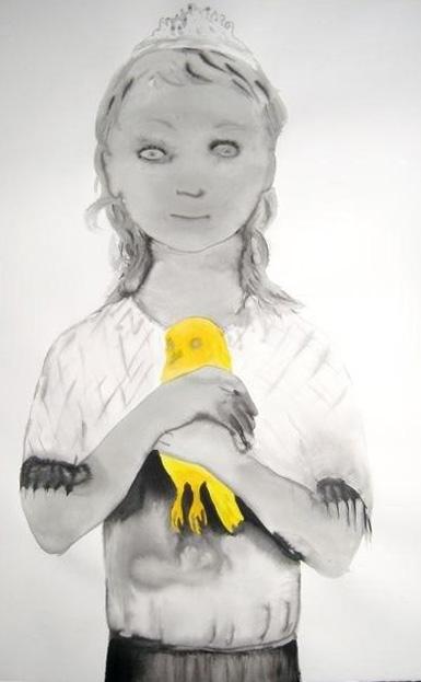 Féminin-masculin, 2008, Lavis d'encre sur papier, 120 x 80 cm, Drop Fine Art, projet de sculpture, Françoise Pétrovitch