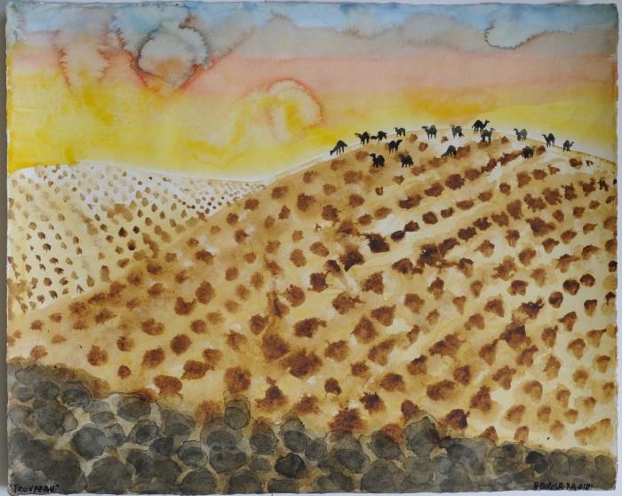 Le Désert, 2010, aquarelle sur papier, 50 x 65 cm, 17ème étape du tour du monde, Tel Aviv, Hervé Di Rosa