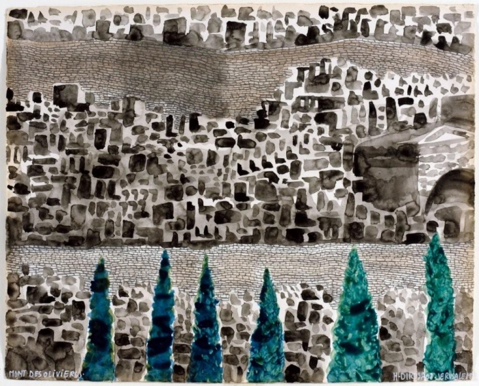 Mont des Oliviers, 2010, acrylique sur toile, 141 x 160 cm, 17ème étape du tour du monde, Tel Aviv, Hervé Di Rosa