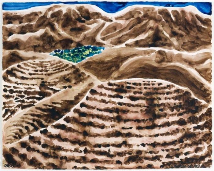 Seul, aquarelle sur papier, 65 x 52 cm, Arad, 2008, Hervé Di Rosa