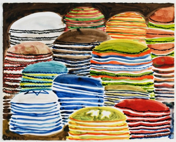 Kippot, 2010, acrylique sur toile, 141 x 160 cm, 17ème étape du tour du monde, Tel Aviv, Hervé Di Rosa