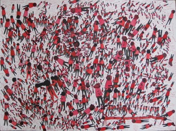 Red Crowd, 2011, Technique mixte sur papier, 55 x 76 cm, Neil Farber