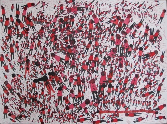 Red Crowd, 2011, Technique mixte sur papier, 55 x 76 cm, Neil Farber