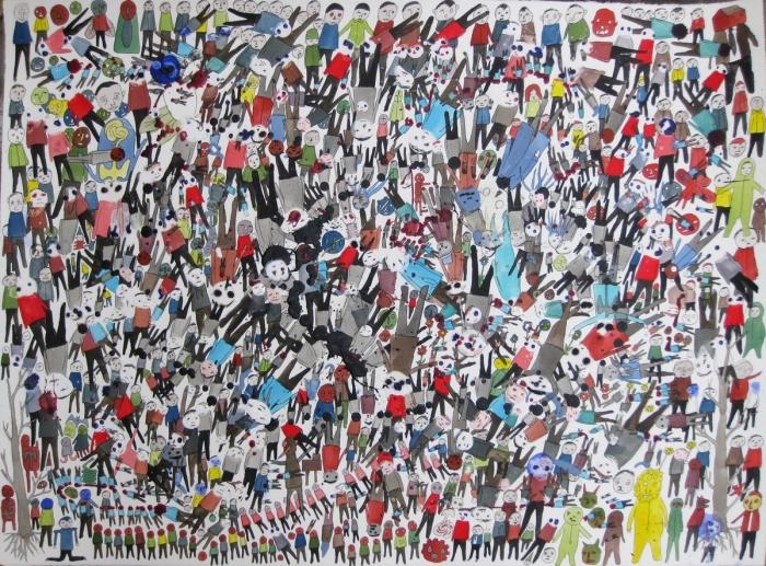 Crowd, 2011, Technique mixte sur papier, 55 x 76 cm, Neil Farber