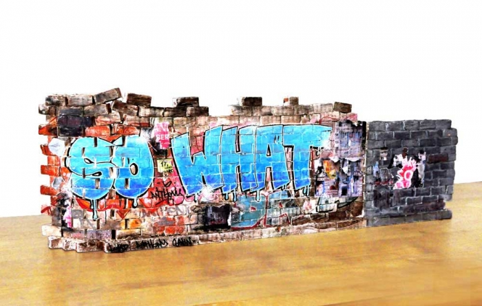 So What - Recto 20x63.5x9cm. Un titre de propriété de mur est remis à l'acquéreur. Ex unique