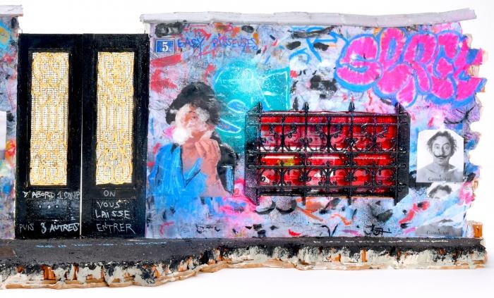 (détail) Lord Anthony Cahn et Roberto Battistini, Rue de Verneuil Variation n°5, 2021, 24 x 88 x20 cm, Sculpture brique, ciment,métal, bois, feuille d'or, peinture techniquesmixtes