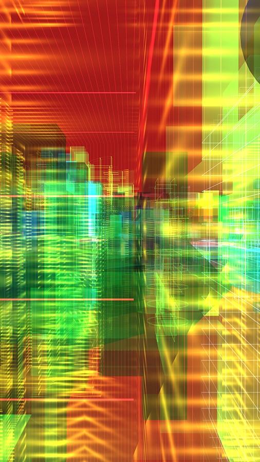 Méta-Cités 2013, oeuvre de réalité virtuelle générative, écran LCD (112 x 64 cm)
