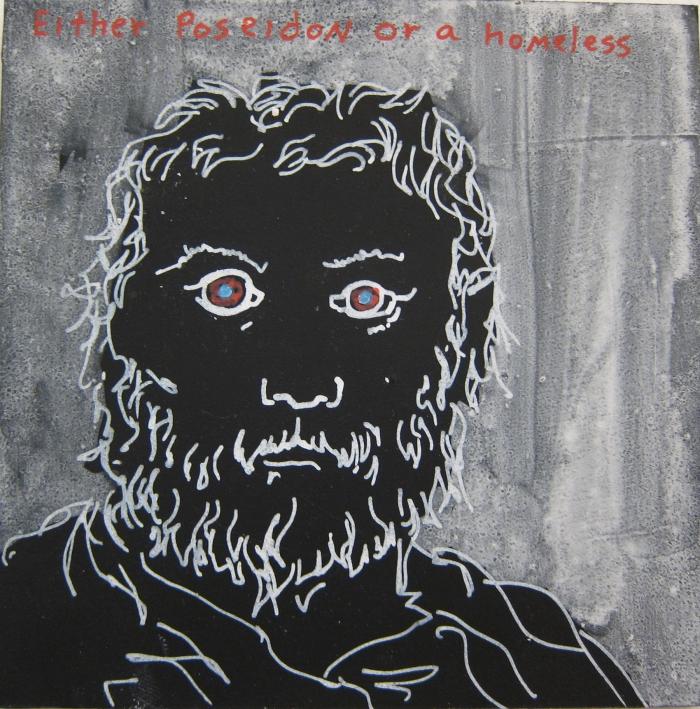 Poseidon, 2010, Technique mixte sur panneau, 15 x 15 cm