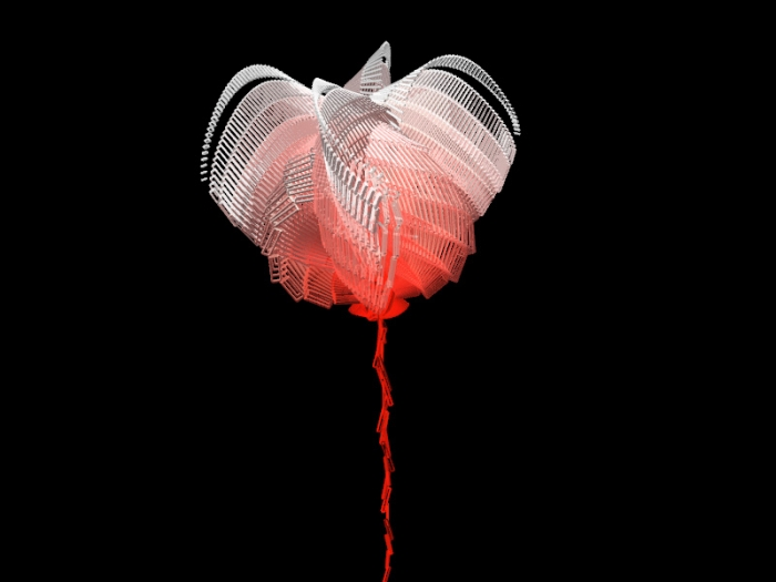 """Psychotria hypnagogica """"Ken Kesey"""", graine virtuelle de la série Fractal Flowers, écran LCD"""