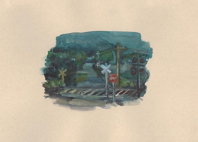 Railroad, watercolour on paper, 19 x 28.5 cm