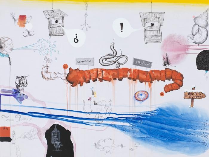 Anyhow-Somehow, technique mixte sur toile, 150 x 200 cm, 2014