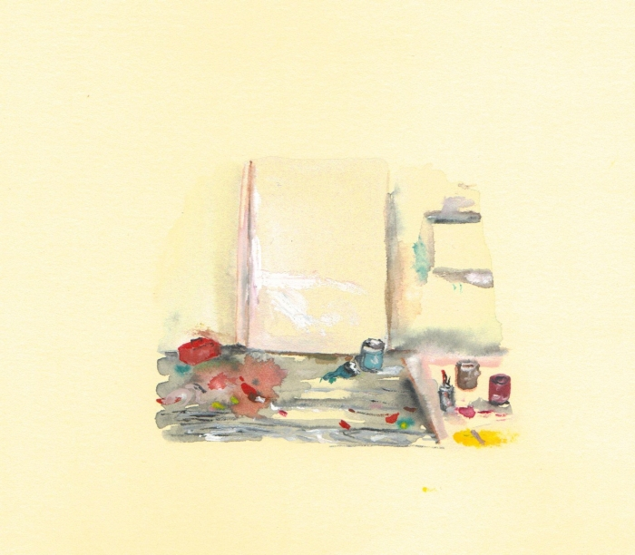 Studio, watercolour on paper, 14 x 19 cm