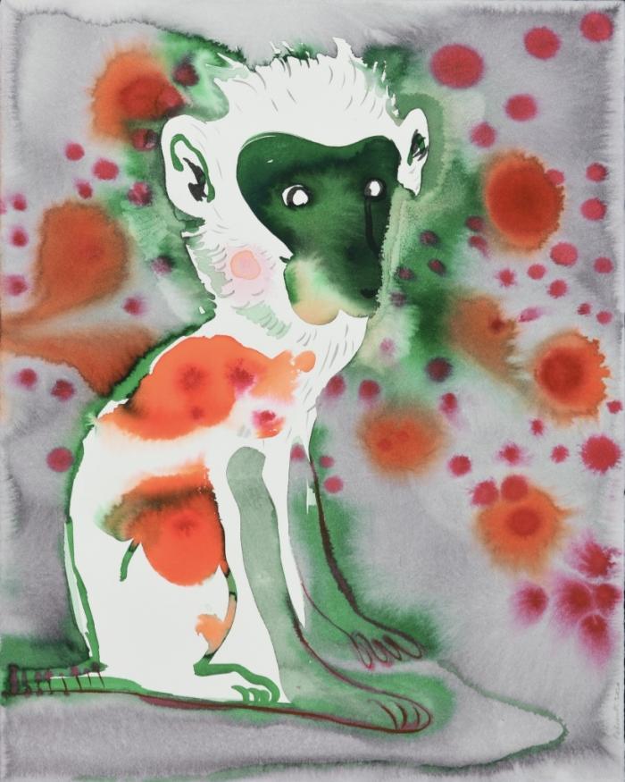 Françoise Pétrovitch, 2020, lavis d'encre sur papier, 51 x 40 cm. Courtesy Galerie Keza, Production Organoïde/Institut Pasteur