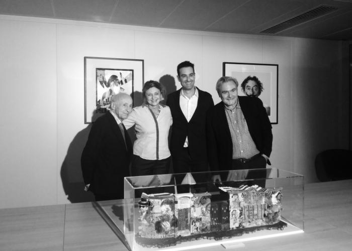 "Jacques Villeglé, Françoise Adamsbaum, Lord Anthony Cahn et Roberto Battistini, ""Gainsbourg Still Alive"", novembre 2016"