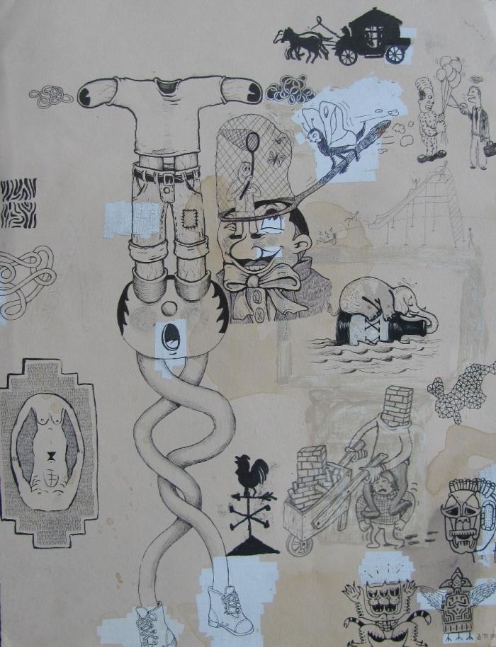 Twisted, 2010, Encre et stylo sur papier, 30 x 25 cm