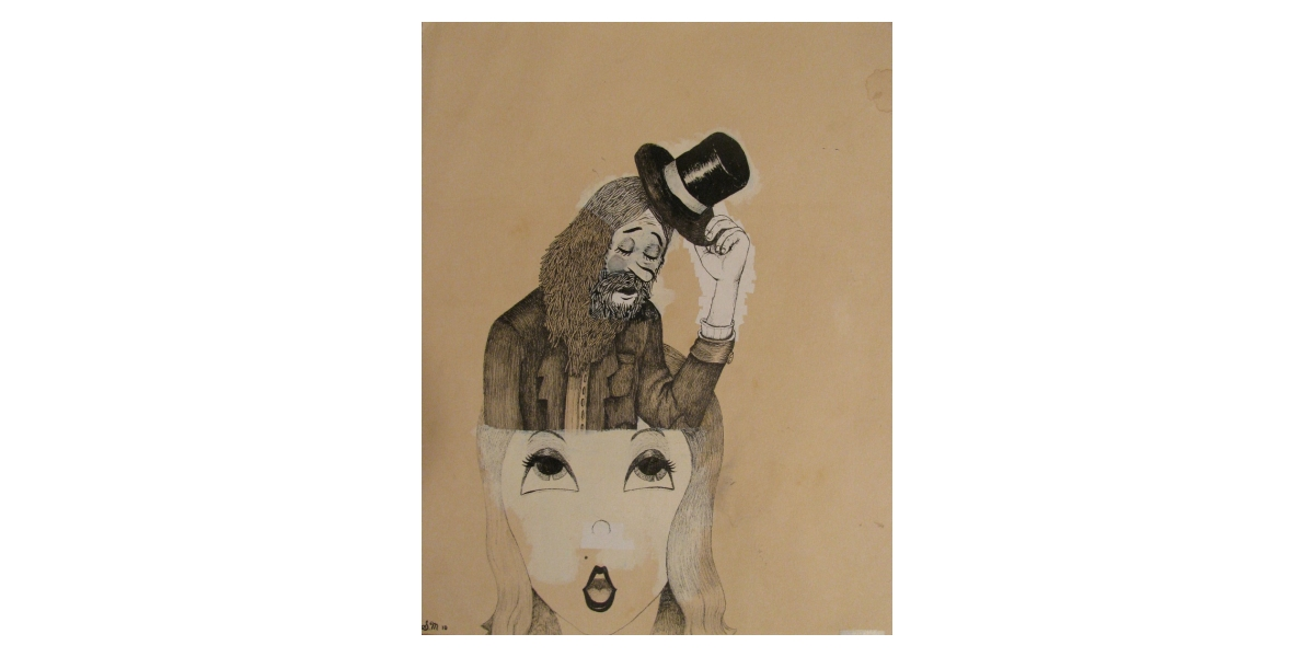 Tipped Hat, 2010, Encre et stylo sur papier, 30 x 25 cm
