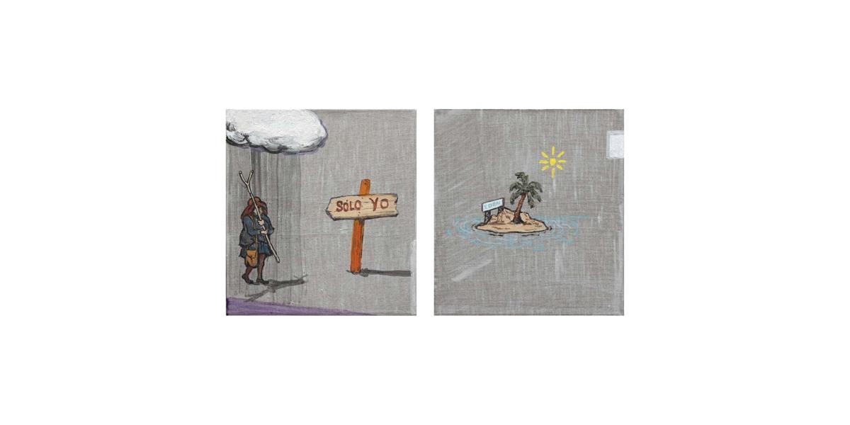 Hotel Fénix: Edén, technique mixte sur toile, deux toiles de 38 x 35 cm, 2011