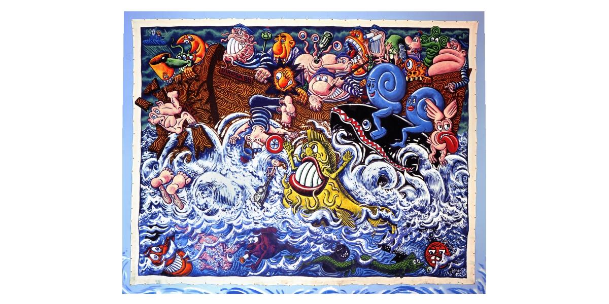 Hervé Di Rosa, Tous en bateaux (1988), 107 x 500 cm, exposée au Musée d'Art Moderne de la Ville de Paris