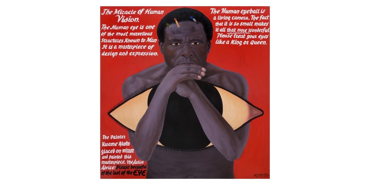 Kwame Akoto Almighty God, Autoportrait fond rouge, acrylique sur toile, 120 x 120 cm