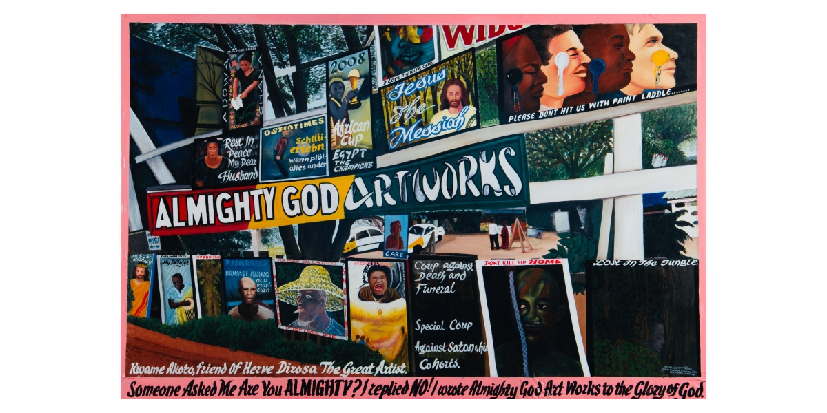 Kwame Akoto Almighty God, Almighty God Art Works, acrylique sur toile, 107 x 183 cm
