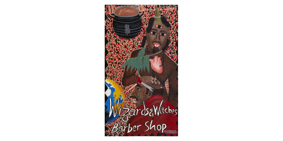 Kwame Akoto Almighty God, Wizards & witches barber shop, acrylique sur toile, 86,5 x 48,5 cm