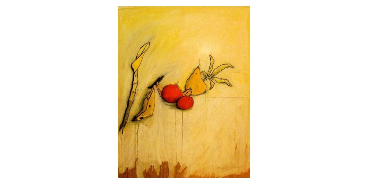 Banane Bambou - Technique mixte sur Bois - 150 x 120 cm - 2001