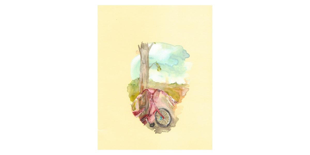 Bike, watercolour on paper,14 x 19 cm