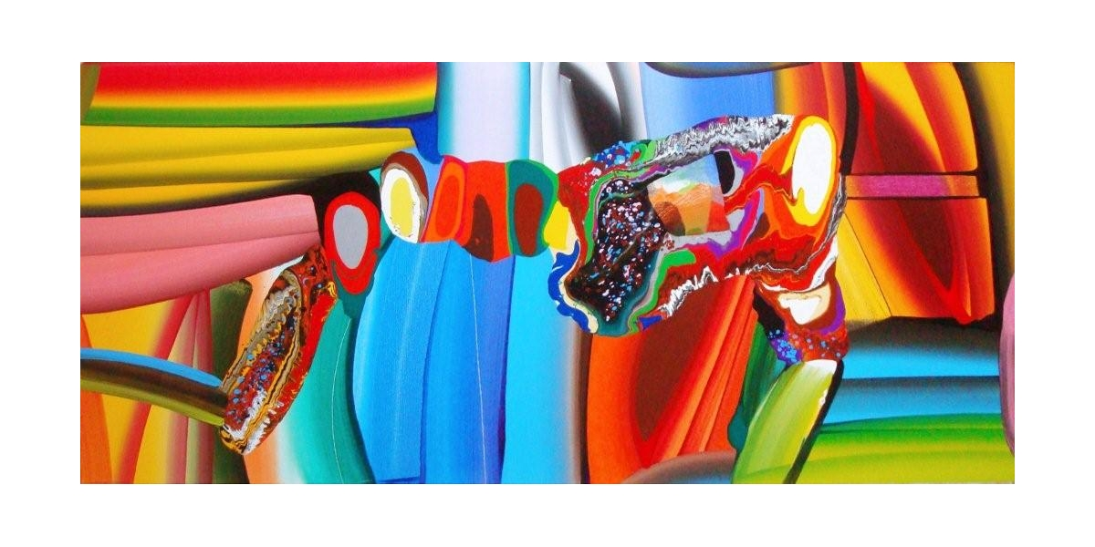 "Stretched bodies"", acrylique sur toile, 72x36 inches, 2008"