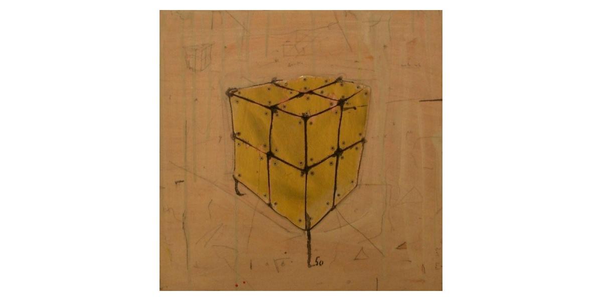 Cube Jaune - Technique mixte sur Bois - 50 x 50 cm - 2001