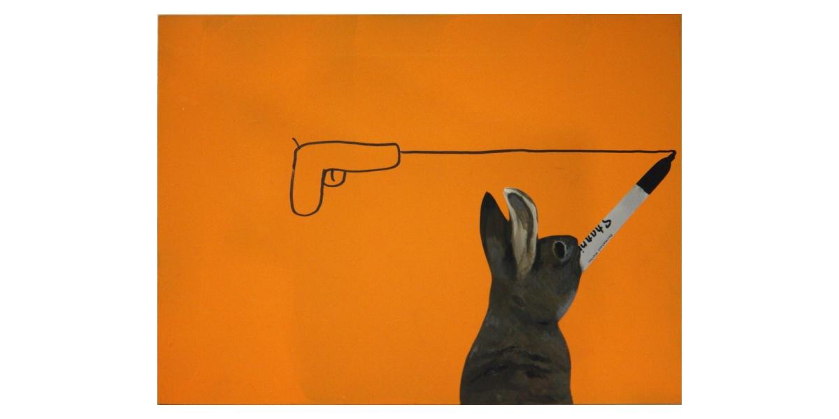 Rabbit with sharpie, 2010, Technique mixte sur panneau, 23 x 30 cm