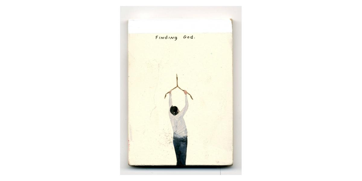 Finding God, 2011, Technique mixte sur panneau, 6,5 x 9 cm