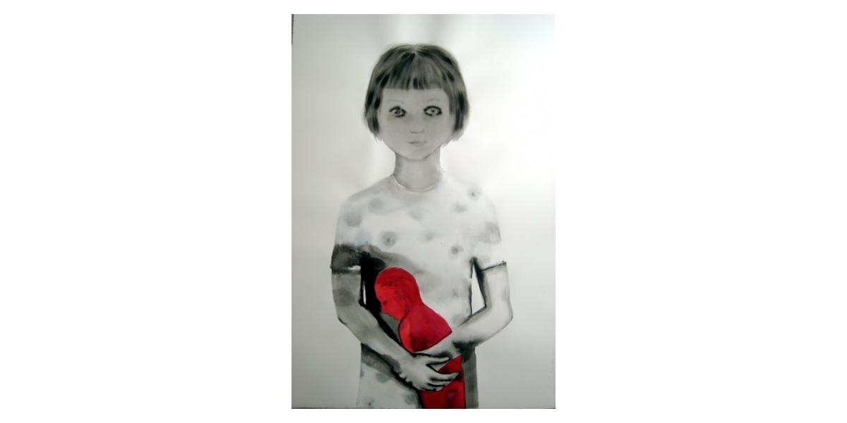Féminin-masculin, 2008, Lavis d'encre sur papier, 120 x 80 cm, Françoise Pétrovitch