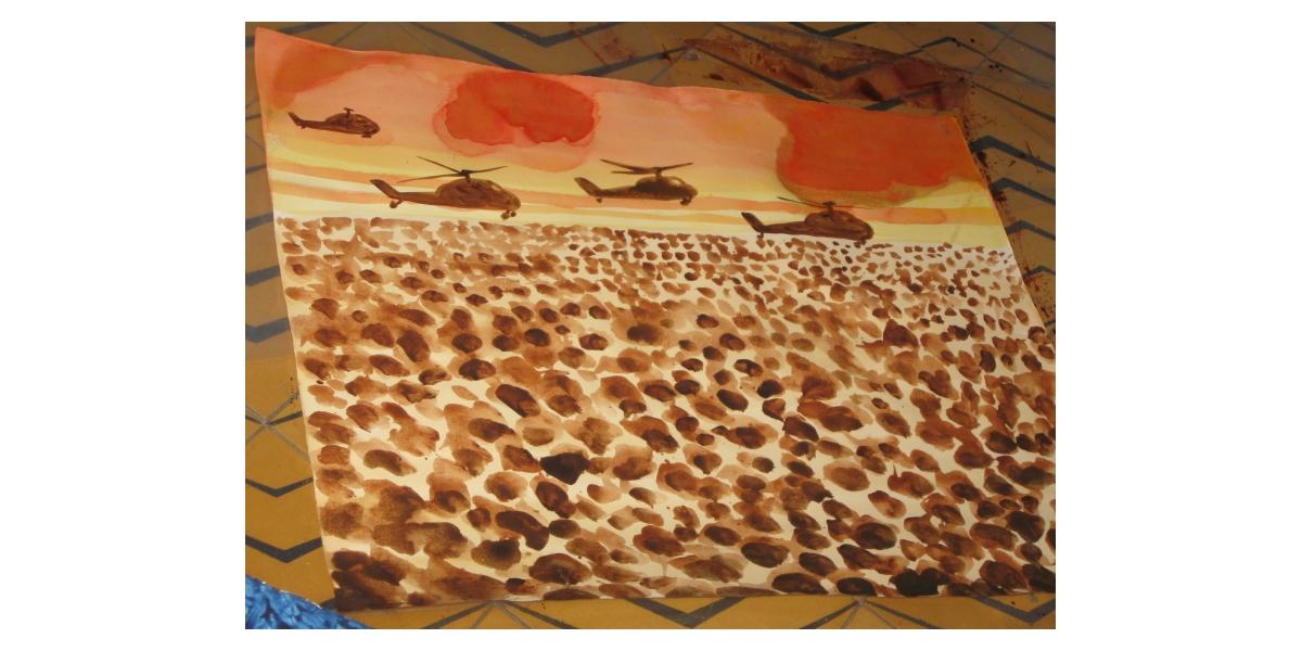 Hélicoptères, 2010, aquarelle sur papier, 50 x 65 cm, 17ème étape du tour du monde, Tel Aviv, Hervé Di Rosa